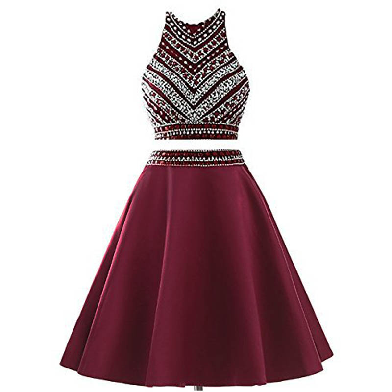 U-SWEAR 2019   Cocktail     Dresses   Two Pieces Wine Red Sexy Party   Dresses   Sleeveless Mini A-Line Beading Cheap Formal Gowns