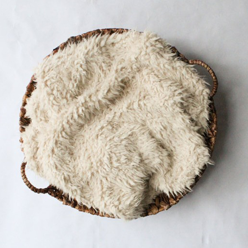60*50cm Newborn Photography Props Blanket Faux Fur Baby camera background plush Wool blanket Infant Soft Basket Photo Christmas