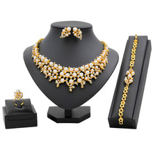 Italy New Fashion Wedding 24 Gold Jewelry Sets Pearl Crystal Necklace Bracelet Earrings for Women Charm Bridal Accessories(China)