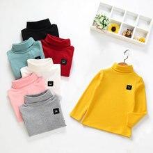 Детская футболка для мальчиков, топы для девочек, хлопковая Однотонная футболка с рисунком, топы, блузка, одежда с длинными рукавами, футболка