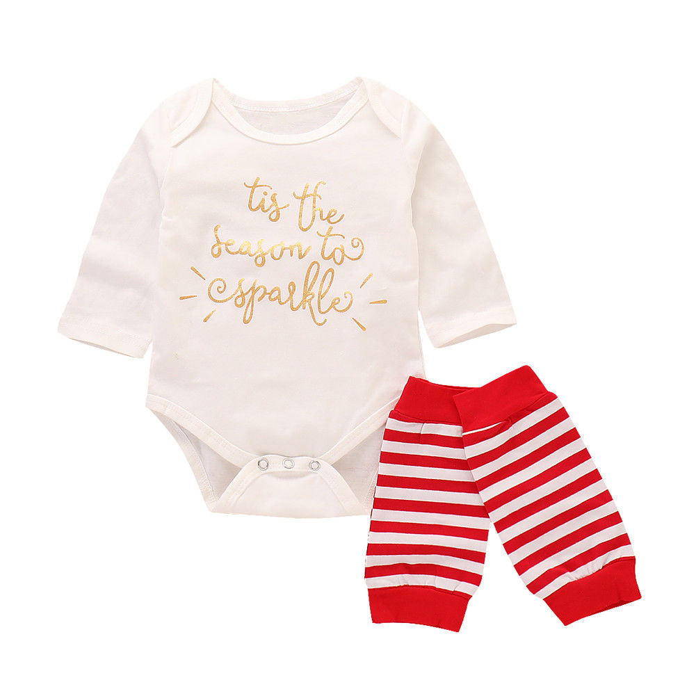 Collectie Hier 2018 Canis Pasgeboren Baby Baby Girl Gold Brief Bodysuit Jumpsuit + Been Rode Warmers 2 Stks Outfits Herfst Toevallige Set
