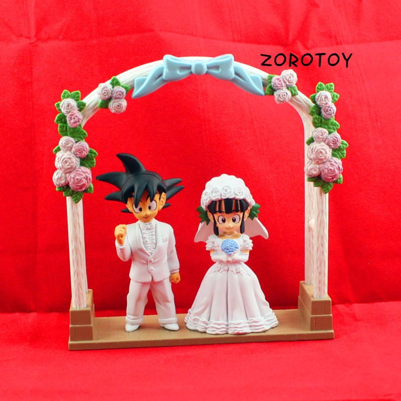 Free Shipping Japanese anime Dragon Ball Goku Kiki married Wedding doll dolls Quality green PVC hand to do  lover gift 8cm high