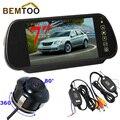 """BEMTOO Универсальная Камера Заднего вида CCD Камера + 7 """"TFT LCD Монитор Зеркала Автомобиля + 2.4 Г Беспроводной Adapterwith импульсной линии"""
