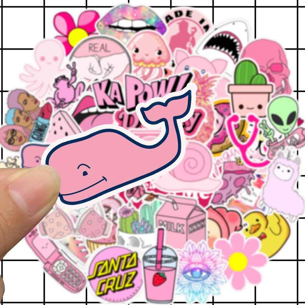 50 Uds PVC impermeable niñas Kawaii Pink Fun juguetes de Pegatinas de equipaje para Motor coche y maleta de moda pegatinas de ordenador portátil