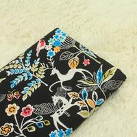 Lovely Plain Weave Fabric Cartoon Deer Bird Printing DIY Patchwork Clothing Dress Material 150cm 100cm Pcs