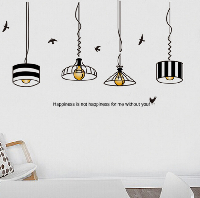 Hanging Lamp Wall Sticker: Golden Hanging Lights Wall Stickers Decals Shining Lamps