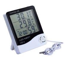 Estação meteorológica exterior interna do termômetro do higrômetro com relógio medidor de umidade da temperatura do termômetro de digitas do lcd-1 -2