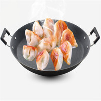 Flat bottom double ears cast iron frying pan old fashioned manual no coating crepe pan cooking pot non stick pan Egg chinese pan