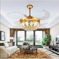 LED crystal fan lamp invisible ceiling fan modern simple living room bedroom fan pendent lamp restaurant fan FS4