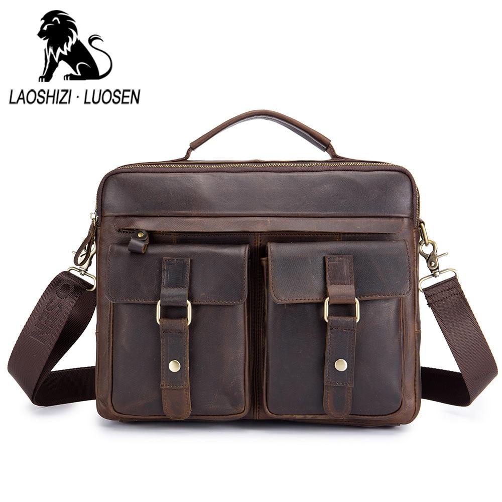 LAOSHIZI LUOSEN homme en cuir véritable Vintage hommes sac à main affaires décontracté hommes voyage ordinateur portable épaule Messenger sac mallette