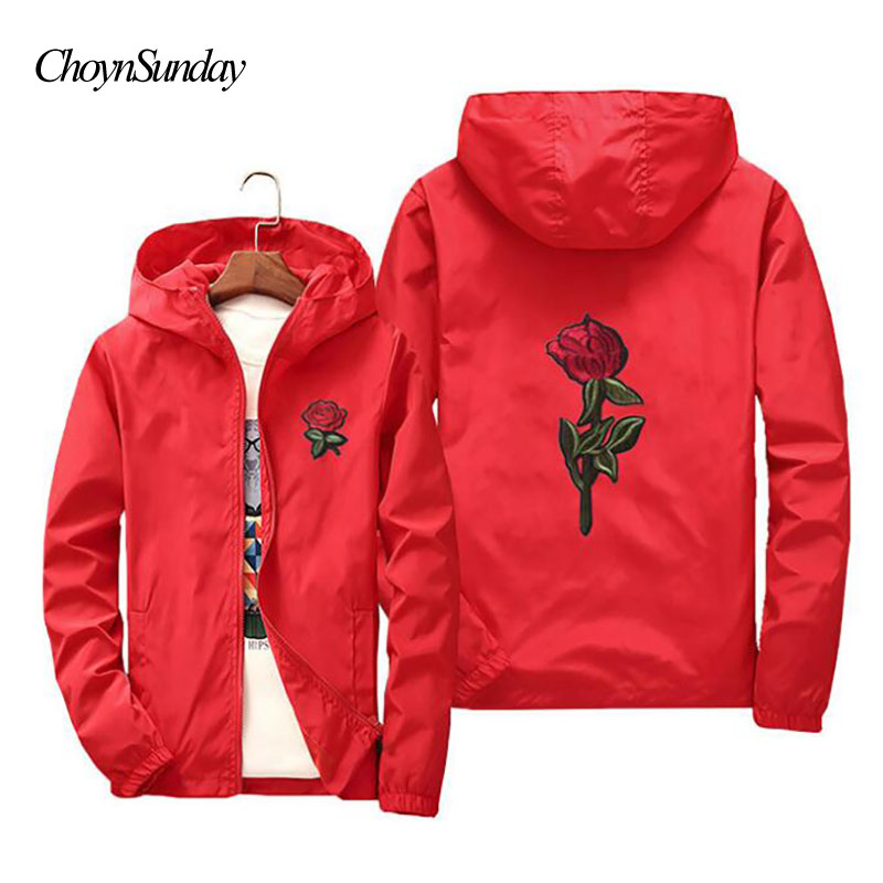 TOP Fighting 2018 Spring Jacket Hooded Windbreaker Men Women College Jackets Long Sleeve Rose Embroidered Jacket