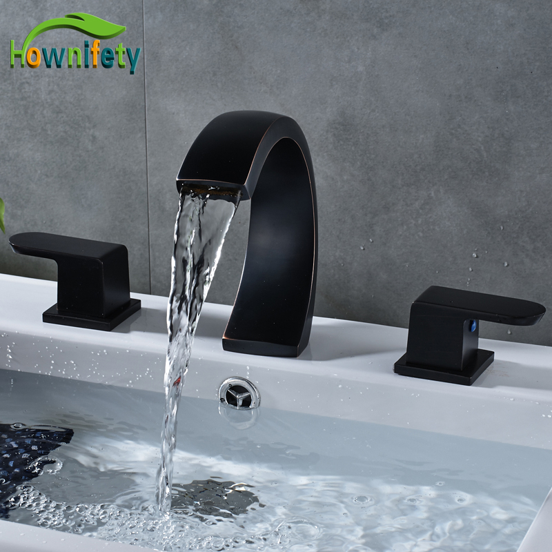 Oil Rubbed Bronze Widespread 3pcs Bathroom Basin Faucet Double Handles Waterfall Spout Mixer Tap Deck Mounted стоимость
