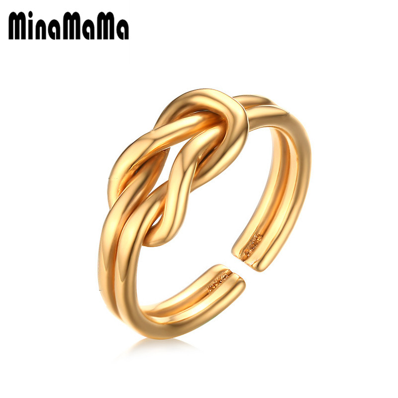 Stainless Steel Pinky Rings Gold Color New Design Infinity Rings For Women Bowknot Jewelry Gift