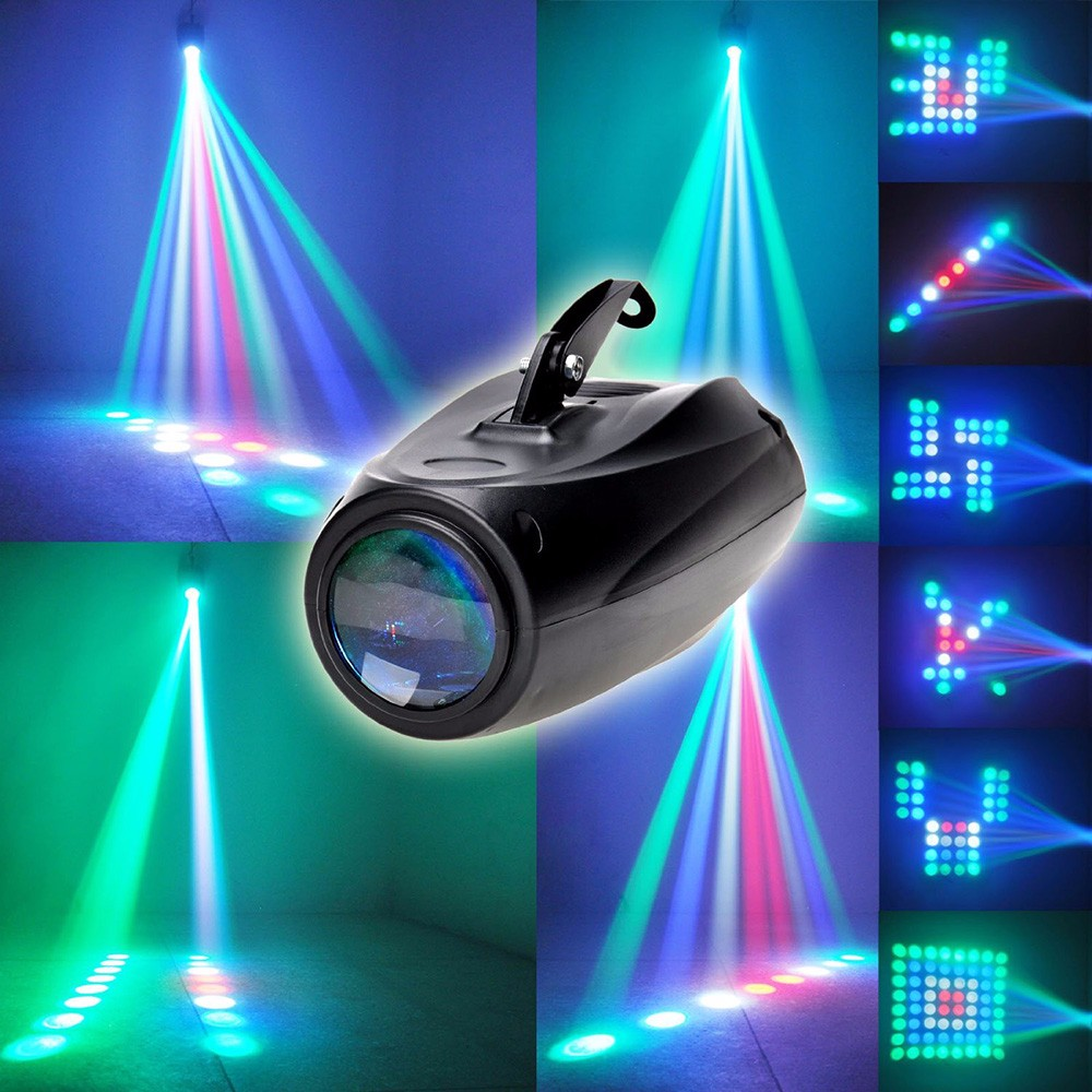 AC 90 - 240V 10W 64 LEDs RGBW Pattern Stage Light Auto Voice-activated Projector Lighting Perfect For Disco Club KTV Party