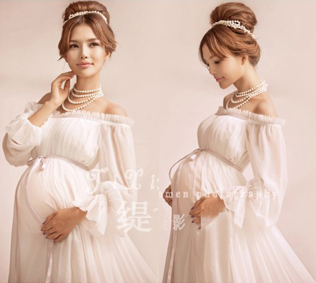 High Quality Big Sale Elegant Maternity Pregnant Women Photography Props Romantic  Shoulderless Long Dress Maxi Photo Shoot Fancy Baby Shower