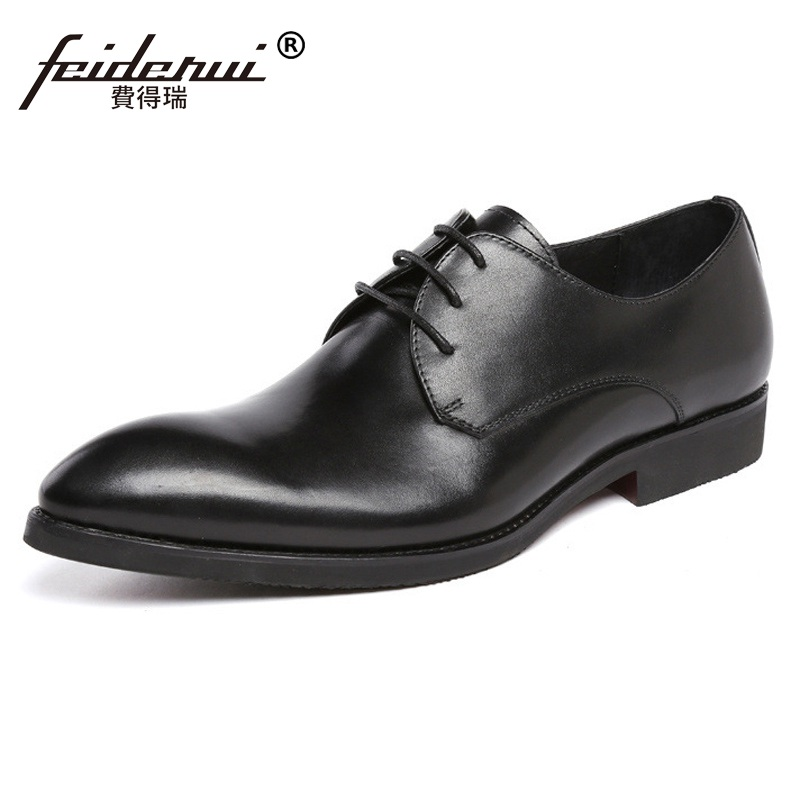 New Arrival Italian Man Bridal Dress Business Shoes Classic Genuine Leather Wedding Oxfords Pointed Toe Derby Men's Flats BH31 new arrival pointed toe derby man formal dress shoes luxury brand genuine leather male oxfords men s wedding bridal flats jd56