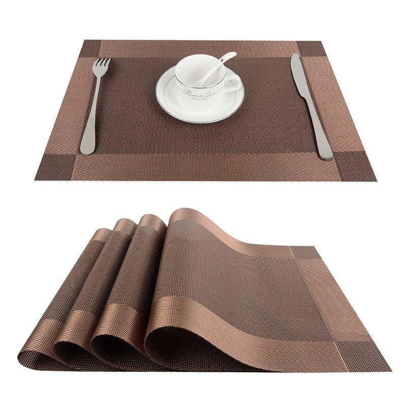 Top finel 4pcs lot pvc decorative vinyl placemats for for Dinner table placemats