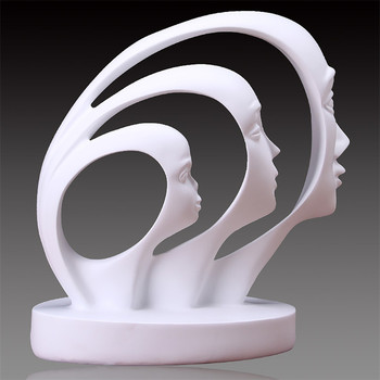 Modern A Family of Three Statue Home Decoration Accessories People Sculpture White Black Resin Figurines Abstract Art Craft Gift 1
