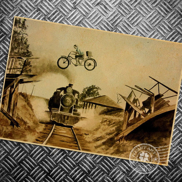 HD Vintage Bicycle painting retro print picture movie poster classic wall art sticker bedroom living room decoration 42x30cm-in Wall Stickers from ...