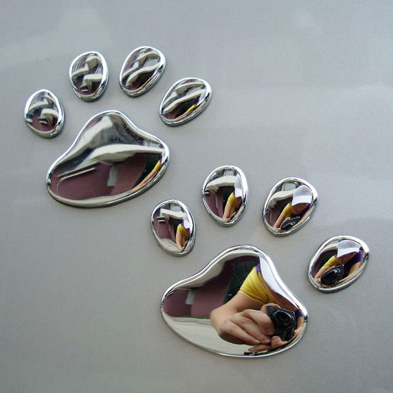 1 Pair Decals Decoration Auto Motorcycle Sticker Cute Bear Dog Animal Paw Foot Print Silver Car-styling 3D Paw Car Sticker car sticker for kia rio high quality waterproof sticker decals decoration protection sticker car styling auto accessories 2pcs