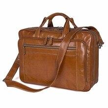 New Vintage Style Breifcase Bag For Business Men Large Capacity Travel Trendy Handbag 17 Inch Laptop 7380B