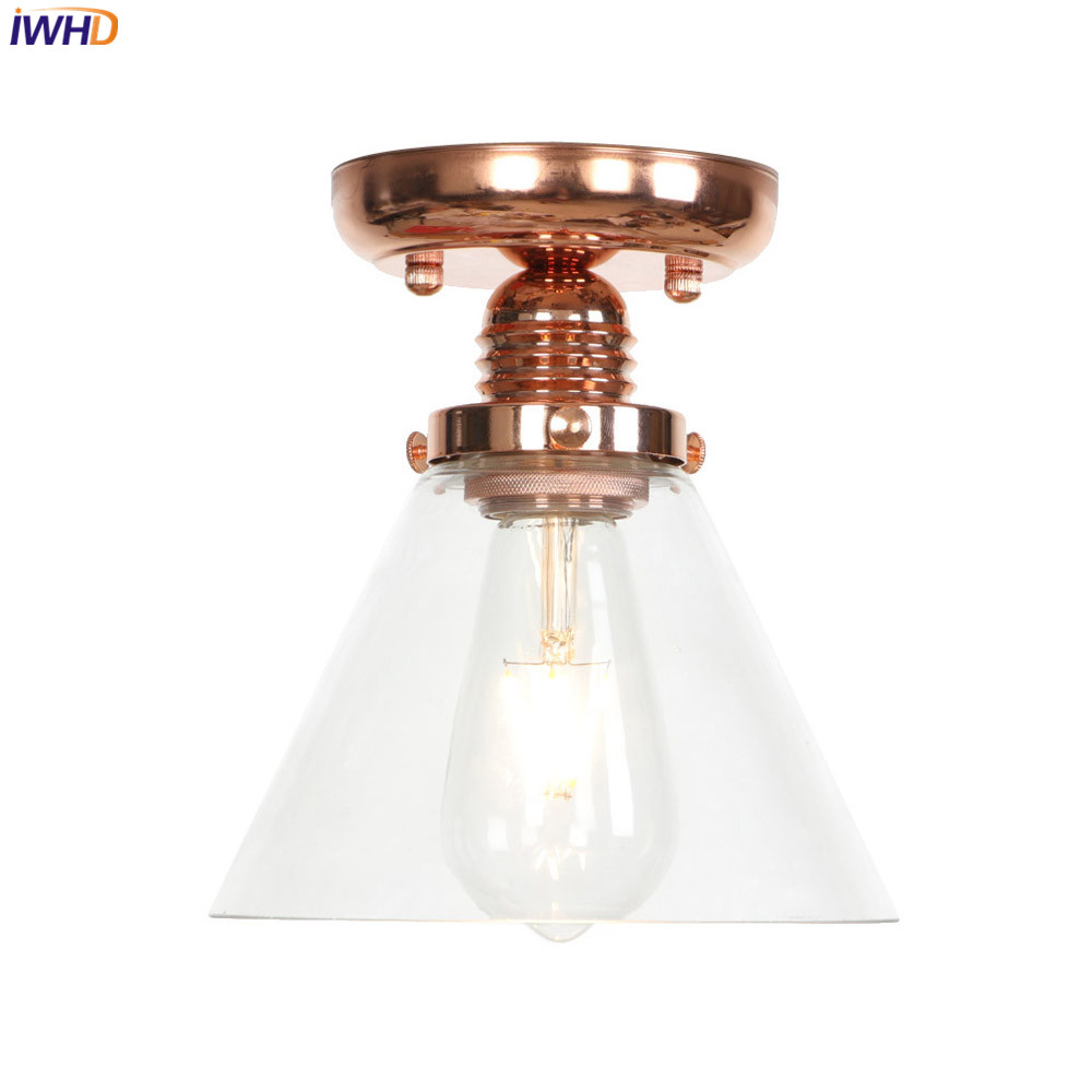 Iwhd glass led ceiling lights led vintage nordic ceiling - Living room ceiling light fixture ...