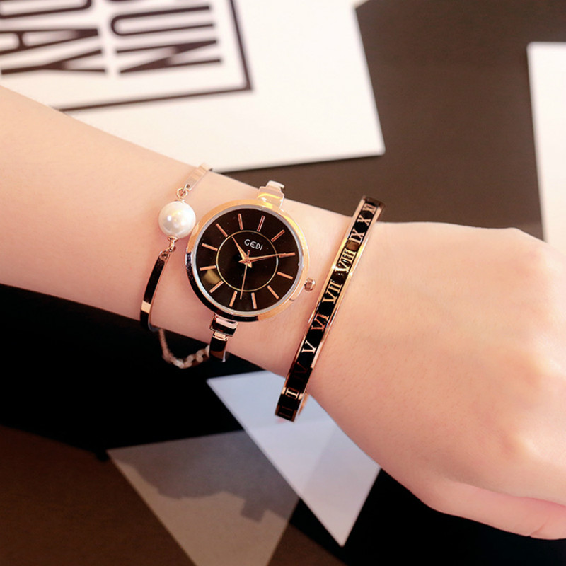 ФОТО 2017 New Fashion GEDI watches women luxury brand gold dress watch ladies analog Alloy wristwatches relogio ZHE Watch Store
