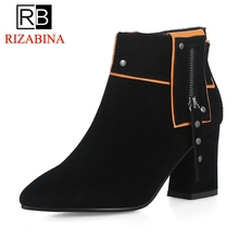 3e5431dd9ce2f9 RIZABINA Mode Frauen Stiefeletten Echt Leder Spitz Zipper High Heels Schuhe  Frühling Herbst Neue Schuhe Frauen Größe 34 -39