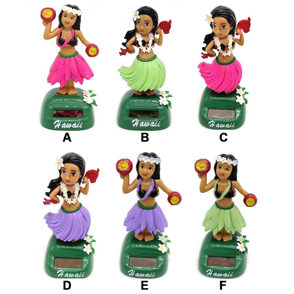 Solar Powered Dancing Hula Girl   Dancing Solar  Girl Toys Solar Hawaiian Car Home Decoration Beauty Grass Skirt Swing Small Orn