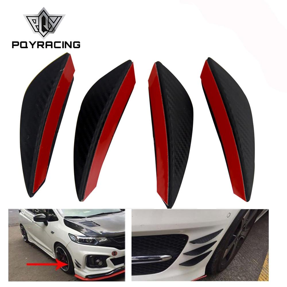 4 unids/set negro fibra de carbono coche Spoiler Canards Fit parachoques frontal labio divisor aleta aire cuchillo Auto cuerpo Kit valencia chin accesorio