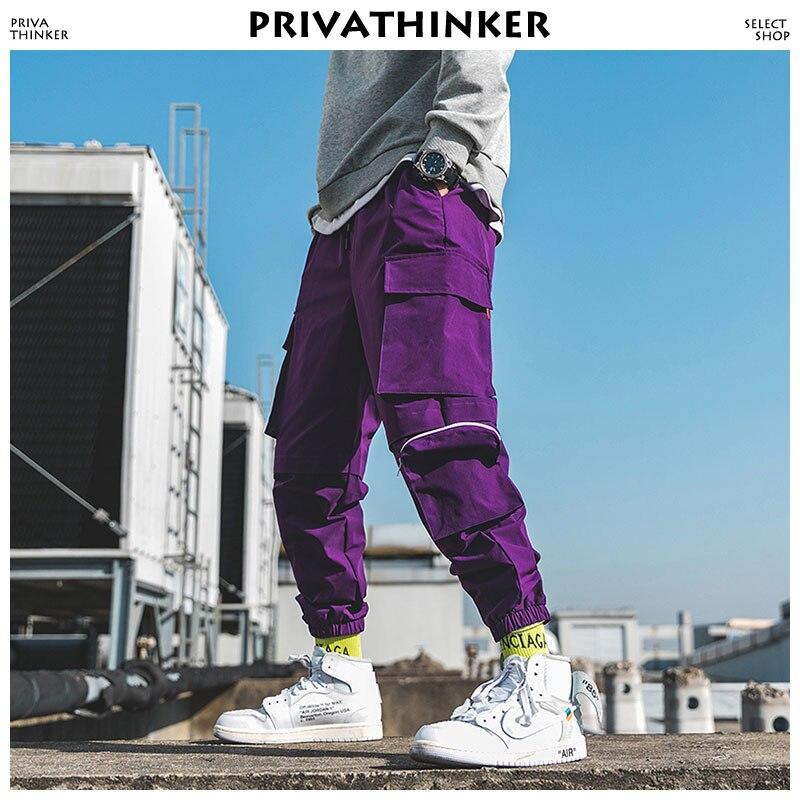 Privathinker Men Purple Joggers Pants 2019 Mens Pockets Streetwear Cargo Pants Male Hip Hop Track Pants Korean Fashions Overalls