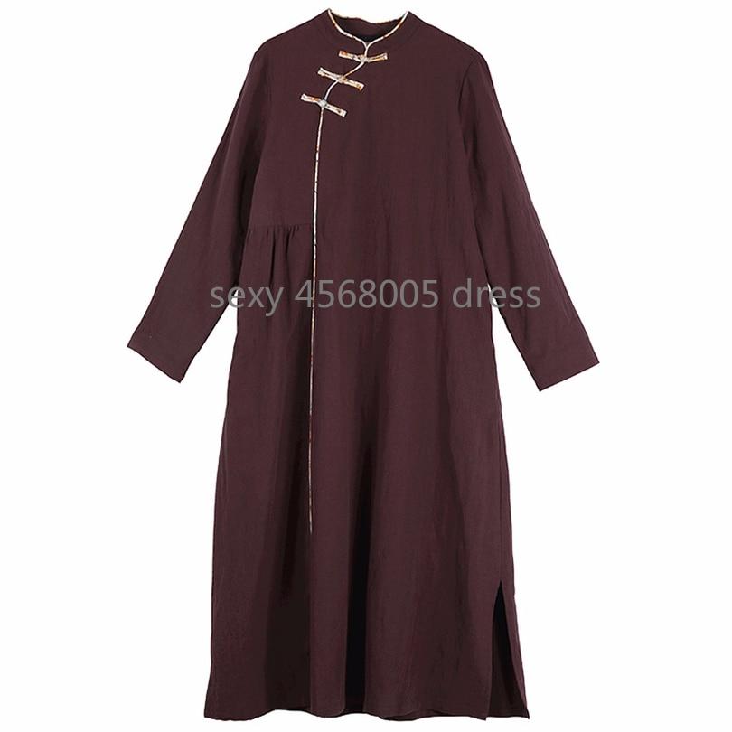 D'origine Longues Coton Femmes Solide Marron Lâche Long Automne Col Femelle Art Robes Stand À Nouvelle Manches Nationale Vent 8xrqwR8