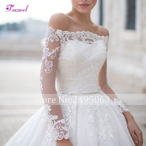 Image 3 - Fsuzwel Gorgeous Appliques Long Sleeve Boat Neck A Line Wedding Dress 2020 Luxury Sashes Beaded Princess Wedding Gowns Plus Size