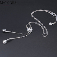 3mm Indian Necklace Chain 100% Real 925 Sterling Silver Women Smiley Face Headset Long Best Friend Necklace Pendant Jewelry 2019