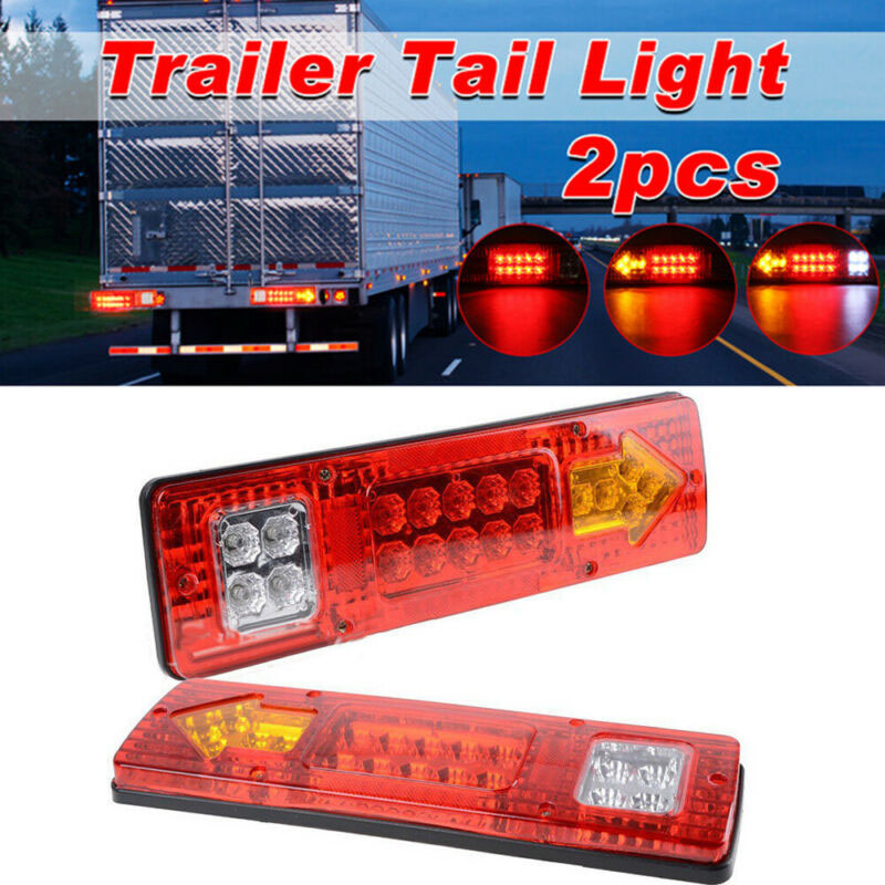 2pcs DC 12V 19-LEDs Car Truck Trailer Tail Light Stop Brake Rear Reverse Turn Indicator Lamp Van Caravan Trailer LED Tail Light