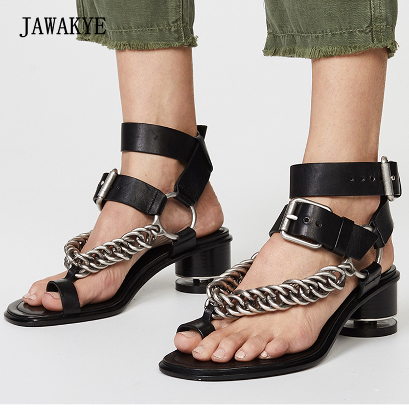 2018 Chain Black Leather Gladiator Sandals Woman Open Toe Metal Decor Ankle Strappy Heel Shoes Woman Retro Sandals цена 2017