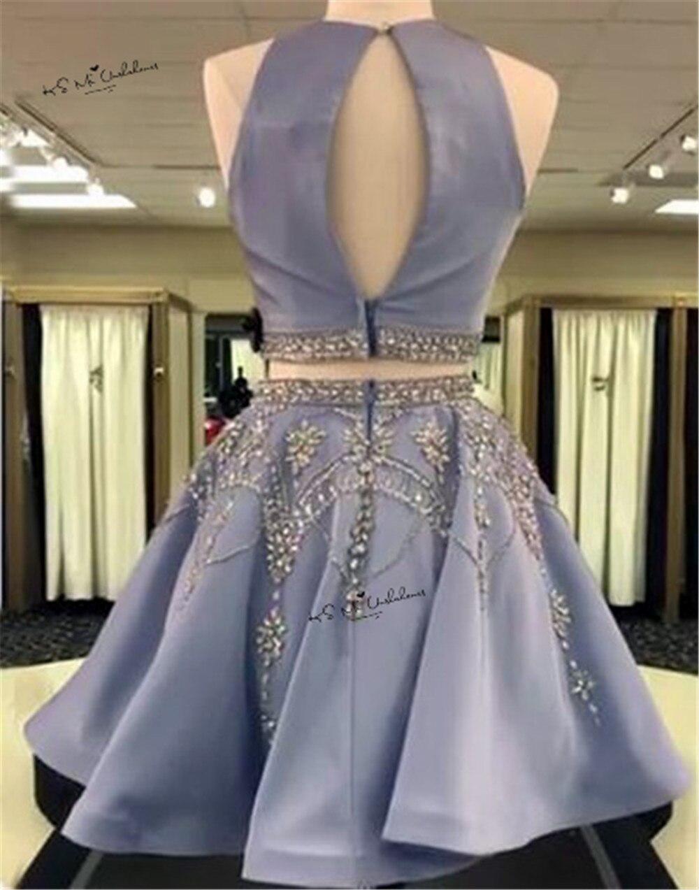 Modeste bleu deux pièces robes de bal 2017 cristaux perles courtes robes de soirée robes de soirée Vestidos de Baile Curto retour robe Gala - 2