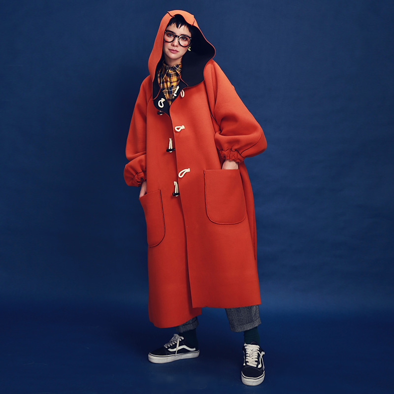 Original New Arrival Autumn and Winter 2017 oversized casual hooded reversible polar fleece   trench   coat two way long coat women