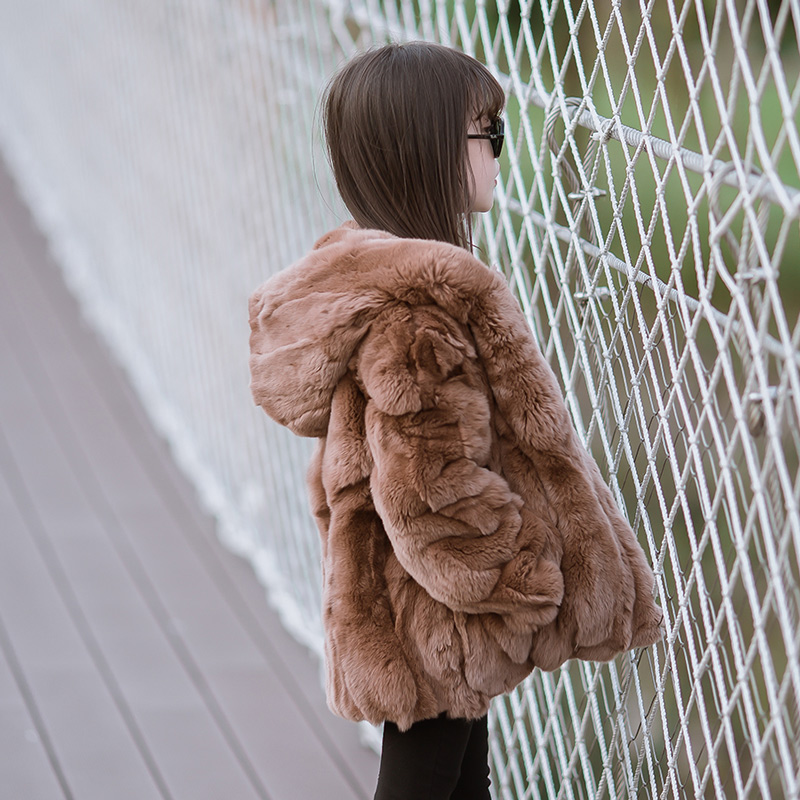 2018 Rex Rabbit Fur Coat Girl Fur Coat Wine Red Natural Rabbit Fur Jacket Girl Jacket Children's Wear Casual Warm Clothing solo fur girl online