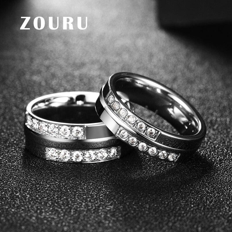 Zouru Фирменная Новинка двухслойные Циркон Белый позолота Титан Сталь Любовь кольцо для Для женщин свадебные Обручение ювелирные изделия