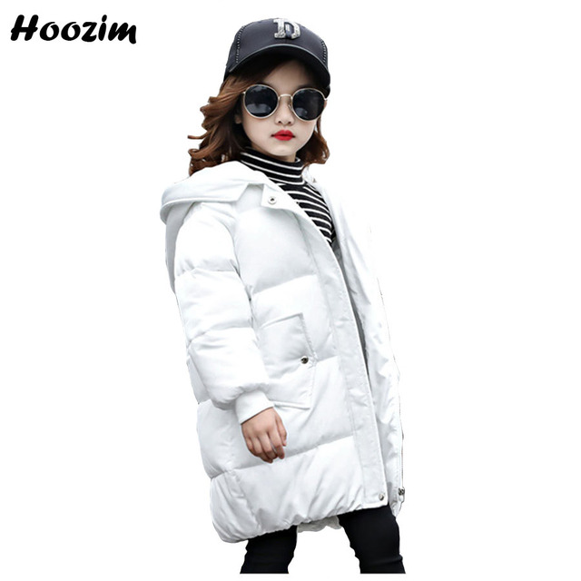 Get Discount Price Fashion White Parka Children Winter Thick Long Jacket For Girls 7 8 9 10 11 12 Years European Kids Outerwear Pink Coat For Girls