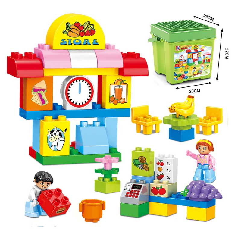 Large Particle City Supermarket Model DIY Building Block 57PCS/SET Girl Boy Figures Brick Toy With Original Box Compatible Duplo umeile brand farm life series large particles diy brick building big blocks kids education toy diy block compatible with duplo