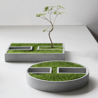 Round Succulent Plants Pot Concrete Silicone Mold Rectangle Candle Holder Plaster Gypsum Molds Cement Clay Mould For Decor