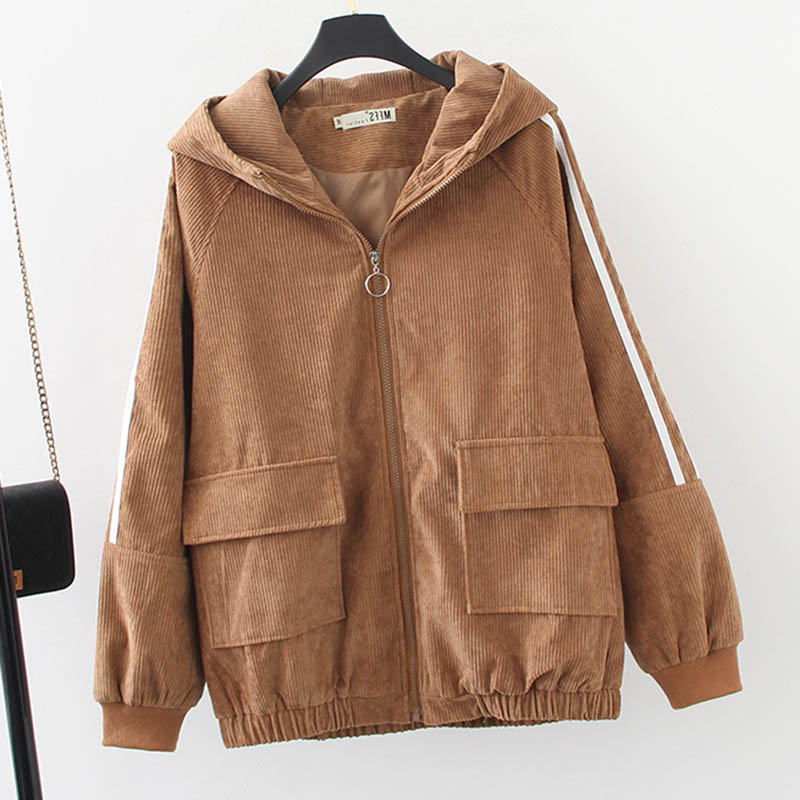 4 Colors Corduroy Jackets Women Spring Outerwear Plus Size 3 4 <font><b>5</b></font> <font><b>6</b></font> XL Casual Pockets Striped Hooded Loose Jacket Coat LP450 image