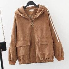 4 Colors Corduroy Jackets Women Spring Outerwear Plus Size 3 4 5 6 XL Casual Poc