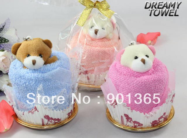 So Cute Bear~Accept Credit Card New Customized Cotton Towel Lovely Bear Cupcake Towel Cake