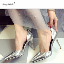 LLXF sapato feminino Summer Sandals Sexy 9cm Thin High-heeled Fashion D'Orsay Shoes woman Stiletto female Pointed Toe Pumps