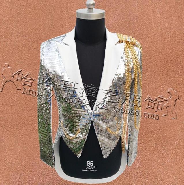 Stage Singers Clothes Men Tuxedo Suit Designs Masculino Homme Terno Jacket Men Sequins Blazer Dance Star Style Dress Punk Silver