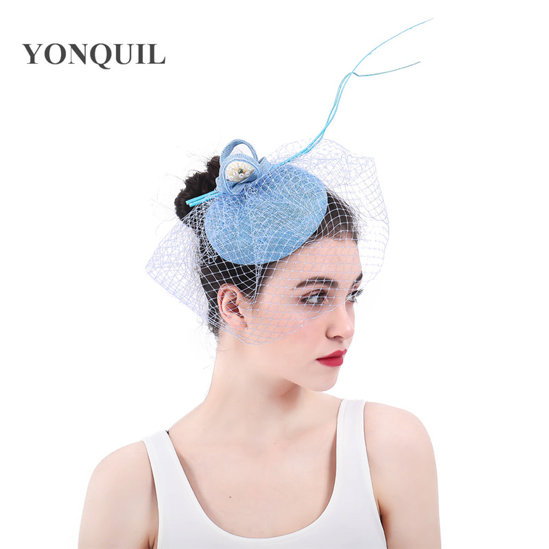 Charming Imitation Sinamay Female Fascinators Hats Light Blue Wedding Hair Accessories With Hairclips Flower Kentucky Headpieces