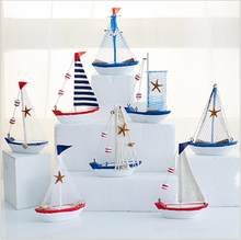Nouveau Mini filets méditerranéen en bois, motif étoile de mer, ornement de bateau à rayures bleues et blanches, modèle de bateau à voile, artisanat de décoration nautique pour la maison